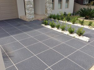 Concrete resurfacing with large tile and fleck